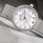 YVES CAMANI Ophelia Womens Watch Stainless Steel Silver Zirconia Crystals New