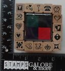 ALL NIGHT MEDIA NEW RUBBER STAMPS BOX SET 16 INK PAD 2910Q HEARTS LOVE VALENTINE
