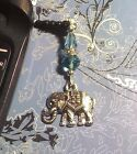 Elephant Turquoise Crystal Cell Phone Charm Dust Cover Free Ship