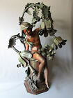 LARGE Antique ART NOUVEAU Newel Post Style SPELTER LAMP with YOUNG EROS 1900