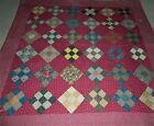 Beautiful Antique Early 1870s Handsewn Nine Patch on Point Quilt FABRICS