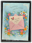 Vintage Embossed Congratulations & Best Wishes Good Fortune Hand In Hand Card
