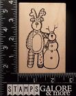 HOOKS LINES  INKERS USED RUBBER STAMP FUNNY REINDEER  SNOWMAN CHRISTMAS WINTER