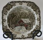 Johnson Bros Plate Covered Bridge Square Clipped Friendly Village England New