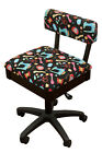Height Adjustable Hydraulic Sewing Chair - Black with Black Riley Blake Fabric