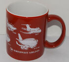 Northwest Airlines Coffee mug cup Red & White Airplanes 3 3/4