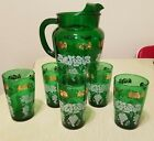 Anchor Hocking Glass Forest Green Pitcher and 5 juice glasses grapes and gold