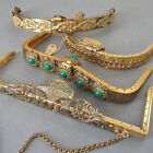 4 OLD STOCK Vintage Decorative GILT Metal PURSE FRAMES Flower Basket JEWELS +