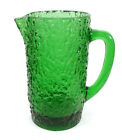 RETRO HEAVY VINTAGE TEXTURED GREEN GLASS WATER JUICE PITCHER MID-CENTURY MODERN