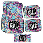 Personalized Blue Paisley Purple And Blue Car Mats