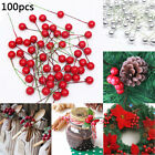 100Pcs 10mm/0.39in hristmas Xmas Red Berry Pick Holly Branch Wreath Decoration