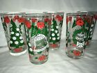 5 Continental Can (Hazel Atlas) Merry Christmas Happy New Year Glass Tumblers