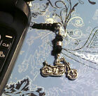 Motorcycle Black Crystal Cell Phone Charm Dust Plug Cover All Phones Free Ship