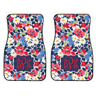 Personalized Navy Daisy Floral Car Mats