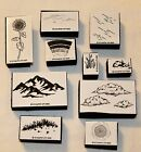 1992 Stampin Up Rubber Stamps Nature Clouds Rainbow Mountain Grass Rain Lot 10