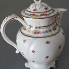 Antique CAULDON Porcelain Coffee CHOCOLATE Pot PINK ROSES Blue FMNs w GILT Trim