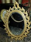 Antique Vintage Shabby Romantic Cast Metal Gold Paint Hanging Wall Mirror 12X9