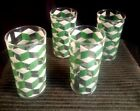 4-Lot 50's Mid-Century Juice Tumblers - Green/White Mod Geometric Block Design