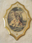 Vtg Italy Gold Florentine Wood Wall Plaque Victorian Garden Scalloped 13
