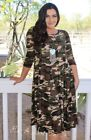 PLUS SIZE PLEATED OLIVE GREEN CAMO CAMOUFLAGE ARMY 3/4 MIDI DRESS 1X 2X 3X USA