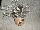 Rooster pail Country/Prim decor white pip berries w/ white tin stars new