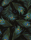 Plume by Chong a Hwang Quilt Fabric Tossed Peacock Feathers Black Style CM3550