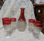 VINTAGE INDIANA GLASS, DIAMOND POINT, RUBY FLASH~DECANTER, 6 WINE GLASSES~