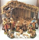 Vintage Nativity Set Sears Stable 11 Composition Figures Made in Italy 71 97136