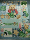 Blue Jean Teddy with Stars Pale Blue Baby Cotton Fabric Panel 36 x 44