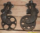 2 VINTAGE INDUSTRIAL RAILROAD CART CAST IRON SWIVEL WHEEL CASTERS-DO NOT MATCH