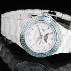 Yves Camani Laval Ladies Wrist Watch Blue White Ceramic Moon Phase New
