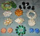 Great Variety  14 pc  Vintage Crystal Glass Bead Jewelry  Bracelets Pins...