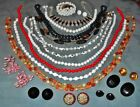 Great Variety  17 pc  Vintage Glass Jewelry  Necklaces Earrings...