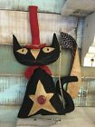 Primitive Folk ARt Black Americana Cat Doll all hand stitched 20