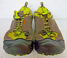 KEEN Mens Charcoal Gray  Green Mesh Dry Hiking Trail Sneakers Size 6