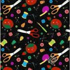 Sew Happy Quilt Fabric Tossed Sewing Notions Style 8941 99 Black Multi