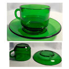 Set of 10 Mid Century VERECO France Green Tempered Glass Round Cups