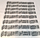 Sheet Music Die Cuts  8 Pieces  Black Cardstock  Sizzix 657343  Musical Note