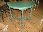 Green Painted Demi Lune End Table Vintage Antique Victorian East Lake