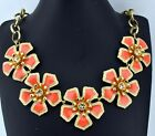 J Crew Bold Chunky Bright Orange Enamel Crystal Glass Flower Bib Necklace NOS