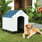 Plastic Dog House Pet Puppy Shelter Waterproof Indoor Outdoor Ventilate Blue