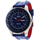 DETOMASO TRIESTE Mens Wrist Watch Stainless Steel Blue Leather Day