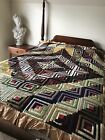 Antique Hand Crafted Log Cabin Block Quilt Ruffled Edge Silk Fabric Early 1900s