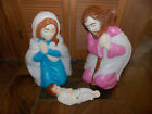 Vtg 3 Pc Nativity Set JesusJoseph  Mary Blow Mold Light Up Yard Decor