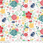2 Yards Riley Blake Cotton Quilting Fabric Midnight Blooms Flowers On White