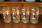 Mid Century Modern Vintage Glassware Set of 4 Red and Gold Golf Tumblers Steins~