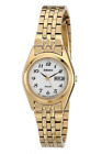 NWOT Women's Seiko SUT118 Gold Tone Stainless White Solar Date Dial Dress Watch