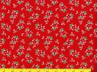 Red  Pink Flowers on Red Christmas Quilting  Sewing Fabric by the Yard 267