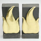 VINTAGE DONALD DESKEY PAIR ANDIRONS MID CENTURY GOLD FLAME BENNETT NY DESIGNER