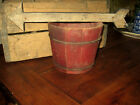 FANTASTIC OLD WOODEN BUCKET WONDERFUL OLD RED PAINT RARE SIZE ! AAFA NR